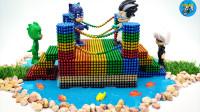手工制作小桥,材料磁珠水晶泥彩石,组装小桥,儿童玩具亲子互动,悠悠玩具城