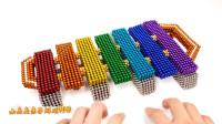 纯手工制作,用磁珠制作精品,钟琴木琴和磁球满意度100磁铁合成,儿童玩具亲子互动,小臭臭亲子游戏
