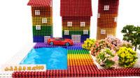 纯手工用磁珠制作精品使公寓有花园和游泳池
