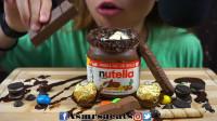 整罐Nutella巧克力酱香草冰淇淋、各式巧克力零食
