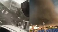 近距离实拍开原龙卷风:肉眼可见范围内 所有物体几乎都被卷上天