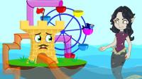 海底世界成长故事:海上游乐场遭到海底巫婆的破坏,蓝鱼超人先生解救!