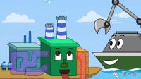 海底世界成长故事:航海上的挖掘机和推土机修建环保船只!现场工作视频!