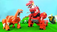 恐龙战队之变形金刚变身霸王龙,侏罗纪恐龙儿童益智变形玩具!