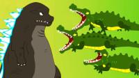 哥斯拉VS三只鳄鱼,怪兽之王和鳄鱼有趣的儿童故事