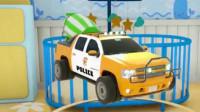 汽车总动员:小警车放进搅拌机变身各种警用工程车