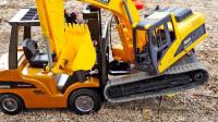 最新挖掘机视频表演3623大卡车运输挖土机+挖机工作+工程车