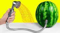 奇葩老外给西瓜装了一个淋浴头,效果怎样? 网友:感觉到一丝凉意