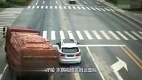 """大货车过路口不减速,为救下小轿车,被迫走向""""不归路""""!"""