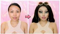 国外女子美妆秀:将自己化妆打扮成了芭比娃娃模样!