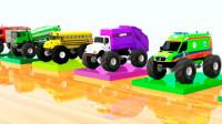 亲子早教动画救护车垃圾车校车工厂染色认颜色