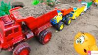 工程车挖掘机卡车模拟工作 儿童汽车玩具视频