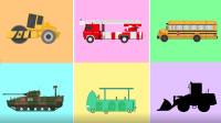 彩色方块里认识 压路机 云梯消防车等卡通汽车
