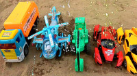 亮亮玩具变形汽车玩具试玩,挖掘机和货车填坑,婴幼儿宝宝玩具过家家游戏视频G532