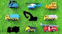 在拼图上找到搅拌车翻斗车推土机消防车和直升飞机等工程车的位置