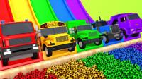 消防车校车冲下滑坡足球水池染色益智动画认颜色