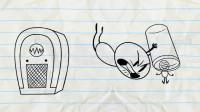 搞笑铅笔动画:小笨蛋和小屁孩大打出手,只因喜欢的音乐风格不一样