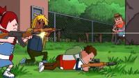 搞笑吃鸡动画:喷火器致命弱点变利器!四胞胎全员四级甲团灭霸哥四人!