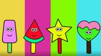 西瓜雪糕 星星雪糕等涂上喜欢的颜色 雪糕涂色游戏