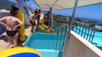 凯梅尔安塔利亚的Dolusu公园的水滑梯,暑假旅游胜地。