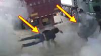 【现场直击】再慢一秒,小伙就被砸中丨轮胎突然爆炸,男子被震腾空