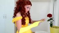 仿妆秀:女孩将自己美妆打扮成迪士尼贝儿公主,漂亮了