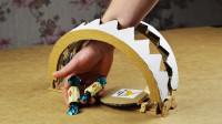 外国小伙点子多,用硬纸板制作捕鼠夹,老鼠能上当吗?