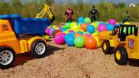 挖掘机轮式装载机自卸卡车建筑车辆儿童玩具彩球运输游戏
