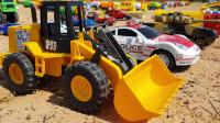 学习汽车名称与汽车玩具视频儿童道路压路机自卸卡车挖掘机玩具汽车