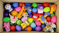 一整箱健达奇趣蛋惊喜蛋和超级飞侠变形警车玩具开箱展示