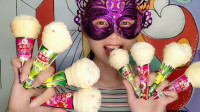 """小姐姐吃""""冰淇淋棉花糖"""",配上彩糖粒子超漂亮,软糯香甜真好吃"""