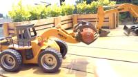 117儿童玩具挖掘机拆箱频道新晒水消防车光头强玩具汽车玩具