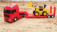 运输汽车的拖车,运输木料的卡车,超有力量的汽车