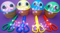 趣味彩泥:冰淇淋玩具学习颜色,奇趣蛋惊喜玩偶