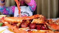 吃货海鲜大姐直播吃帝王蟹,看得我都要流口水了,能大口吃肉真爽