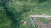 徒步驼梁航拍五台山驼梁风景区,在跑泉厂村有很多露营的驴友