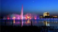 兰州新区体育公园二号湖滨区音乐喷泉完整版