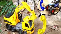 工程车,大脚四驱车和黄色挖掘机,多种动物玩具,儿童玩具亲子互动