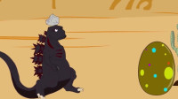 黑色幽默动画,哥斯拉喷火烘烤怪兽蛋,这回遇到对手跑上树躲藏!