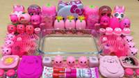 用53种粉色材料做无硼砂泥,有KT猫和化妆品等,整个过程充满少女心