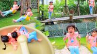 好刺激!萌宝小萝莉来到室外游乐园玩什么呢?趣味玩具故事