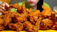 这是我见过最美的吃播,今天吃炸鸡+泡菜,超过瘾!