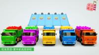 自动倾卸卡车运输的五彩球和5种颜色的保时捷跑车 家中的美国学校