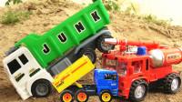工程车运输好多彩虹球,精选翻斗车挖掘机玩具视频
