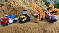 儿童趣味玩具:工程车运输沙土翻车,消防车、吊车、拖车和挖掘机前来救援!