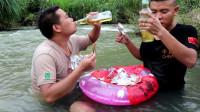 小农乡:和鱼哥去溪里,挑战20包爆辣鱼尾,再喝4瓶酒,成功了吗