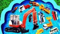 儿童趣味玩具启蒙认知:吊车、挖掘机、推土机、兰博基尼和邮递车!