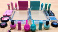 粉色PK蓝色化妆品做混泥,无硼砂一共加20多种,猜猜结果颜色怎样