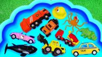 趣味识名称,建筑卡车挖掘机章鱼虎鲸认识汽车和动物形状!