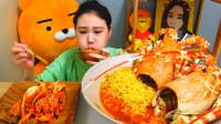 韩国大胃王卡妹,试吃澳洲龙虾泡面,这样吃太奢侈了吧